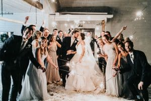 Trendy MN Barn Wedding Venue Party with Sparklers